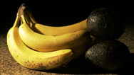 Stock Video Footage of 1706 Banana and Avocado Close Up, HD