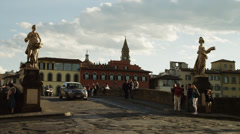 WS Traffic on arch bridge / Florence,Tuscany,Italy Stock Footage