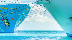 Cruise Ship Bows / Hulls in Tropical Waters Stock Footage