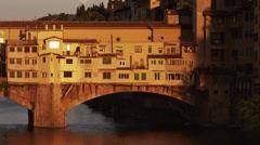 MS TU Ponte Vecchio at sunset / Florence,Tuscany,Italy Stock Footage
