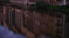 MS TU Riverfront apartment buildings  at dusk / Florence,Tuscany,Italy Stock Footage