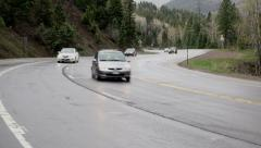 Colorado Rocky Mountain highway pass traffic rain storm HD Stock Footage