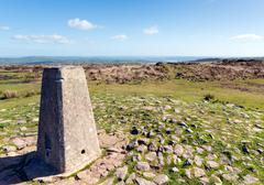 Trig point at Black DownMendip Hills Somerset in south-west England UK Stock Photos