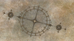 Animated gears, ancient nautical instrument, compass on grunge parchment Stock Footage
