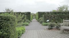 Pan of posh garden Stock Footage