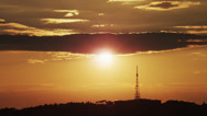 Stock Video Footage of WS Silhouette of horizon with telecommunications antenna at sunset / Rome,Italy