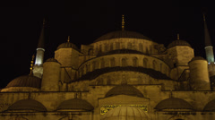 WS PAN LA Blue Mosque at night / Istanbul,Turkey Stock Footage