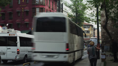T/L WS Traffic on city street / Istanbul,Turkey Stock Footage