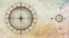 Ancient nautical instrument compass, animated gears rotating on grunge parchment Stock Footage