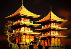 Buddhist temple in mountains - stock illustration