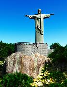 Famous statue of the Christ the Reedemer, in Rio de Janeiro, Brazil - stock illustration