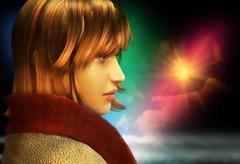 Romantic girl looking sadly into future Stock Illustration