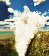 Volcanic eruption on island - stock illustration