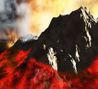 Stock Illustration of Volcanic eruption