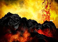 Volcanic eruption - stock illustration