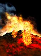 Stock Illustration of Volcanic eruption on island