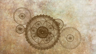 Stock Video Footage of Mechanism, Ancient Metallic Cogwheel On Grunge Parchment