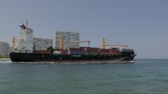 Cargo ship Vega Sagittarius Leaving Port Everglades, Florida 4:2:2 Stock Footage