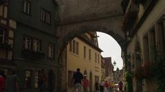 WS TD Street under Spitalgasse / Rothenburg ob der Tauber, Germany Stock Footage
