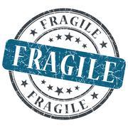 fragile blue round grungy stamp isolated on white background - stock illustration