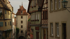 MS PAN Buildings in old town / Rothenburg ob der Tauber, Germany Stock Footage