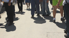 Human shadow People Steady cam shot . Crowded City Life. Stock Footage