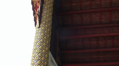 Beautiful roof, pillars and doorway of Buddhist temple in Chiang Mai, Thailand. Stock Footage