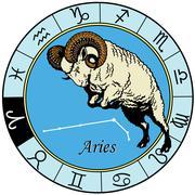 Aries zodiac Stock Illustration