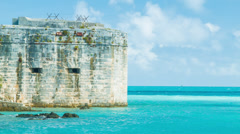 Historic Fort in Tropical Bermuda Stock Footage