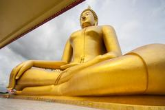 big golden buddha  at wat muang, ang thong province - stock photo