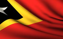 Flying Flag of East Timor . All Countries Collection . - stock photo