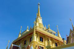 the beautiful big golden temple in nakhonsawan province - stock photo