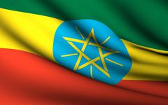 Flying Flag of Ethiopia . All Countries Collection . - stock photo