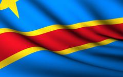 Flying Flag of Congo Democratic Republic | All Countries Collect - stock photo