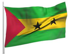 Flying Flag of Sao Tome and Principe - All Countries Stock Photos