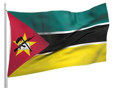 Flying Flag of Mozambique - All Countries - stock photo