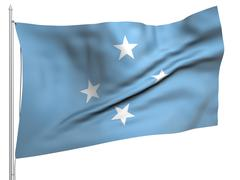 Flying Flag of Micronesia - All Countries Stock Photos