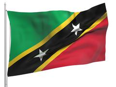 Flying Flag of Saint Kitts and Nevis - All Countries Stock Photos