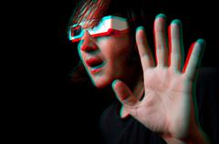 Man with anaglyph glasses Stock Photos