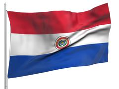 Stock Photo of Flying Flag of Paraguay - All Countries