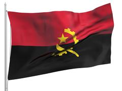 Flying Flag of Angola - All Countries - stock photo