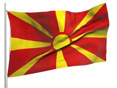 Stock Photo of Flying Flag of Macedonia - All Countries
