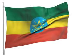 Flying Flag of Ethiopia - All Countries Stock Photos