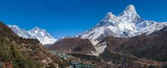 Panoramic view of ama dablam, everest and lhotse Stock Photos
