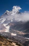 Panoramic view of ama dablam peak and himalaya village Stock Photos