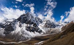 Pheriche valley and cholatse peak in himalaya Stock Photos