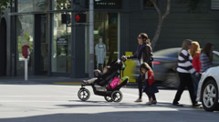 USA, California, San Francisco, Mother with two children (2-3, 4-5) walking Stock Footage
