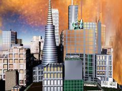 Stock Illustration of Armageddon in New York