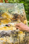 Detail of an abstract acrylic painting Stock Photos