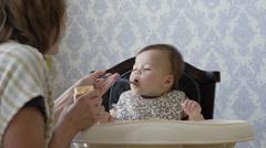 USA, Utah, Orem, Mother feeding son (6-11 months) - stock footage